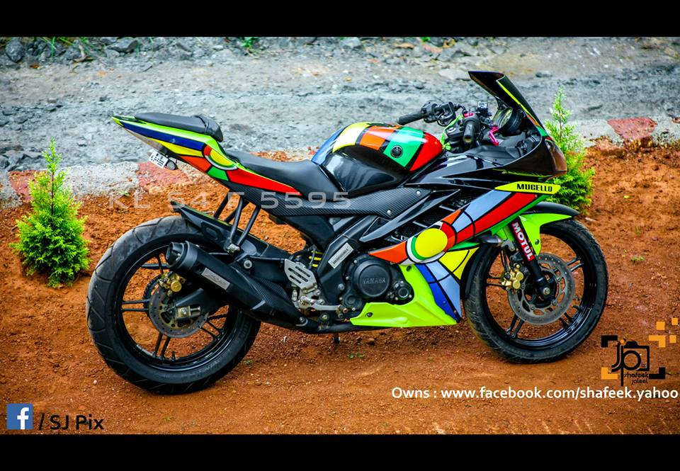 Yamaha R15 V2 Modified in Kerala- Abstract Stickers ...