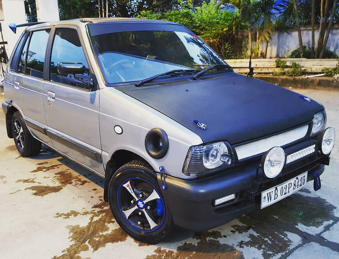 Modified Black Grey Maruti 800 With Spoiler Modifiedx