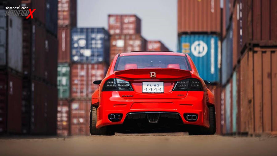Modified Red Honda Civic K Break Hyper Wide Modifiedx