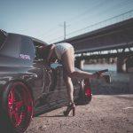 Girl and Nissan GTR