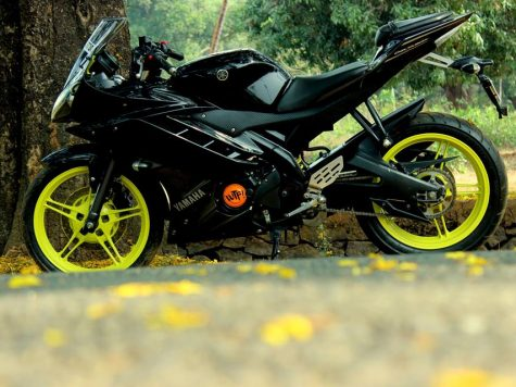 Modified Yamaha R15 fluroscent alloy