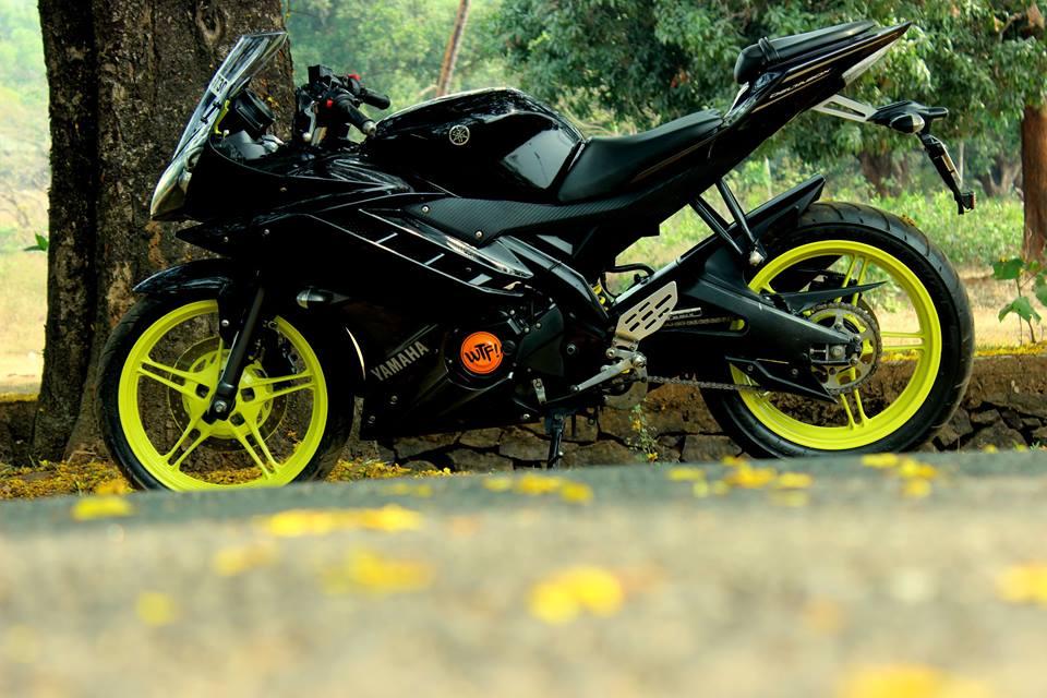 Modified Yamaha R15 fluroscent alloy
