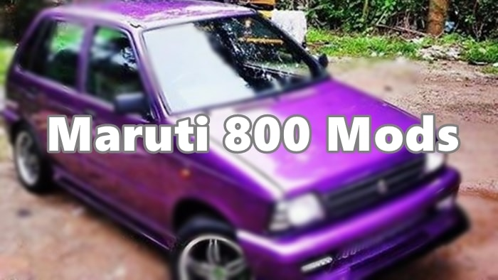 Modified Maruti 800 violet colour
