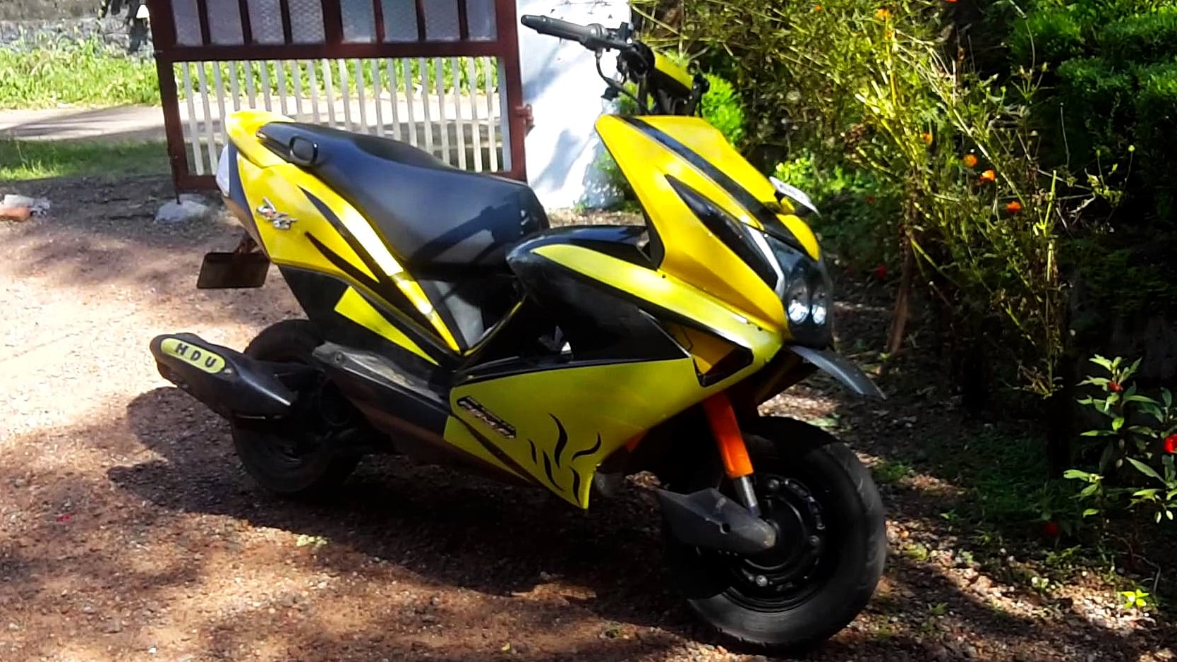 Yellow Honda Dio modified