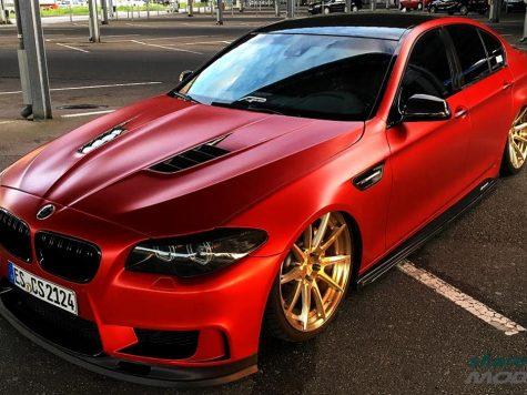 BMW 5 series red wrap custom