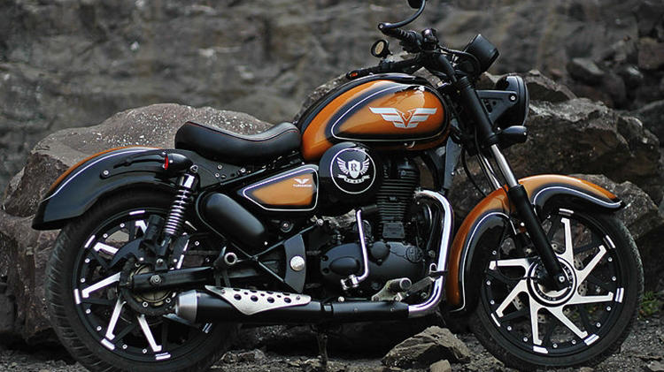 Modified Royal Enfield Classic 350 orange