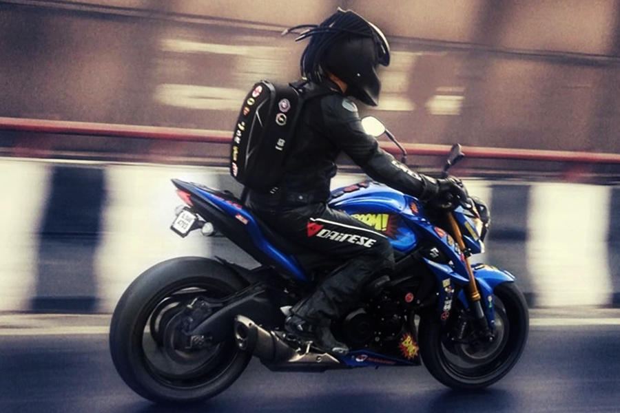 Custom Suzuki GSXS1000 ride SC project exhaust]