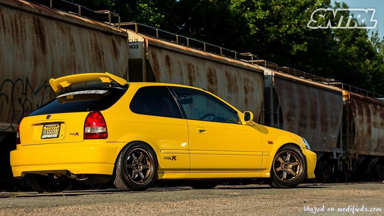 custom yellow honda civic ek9 type r modifiedx. Black Bedroom Furniture Sets. Home Design Ideas