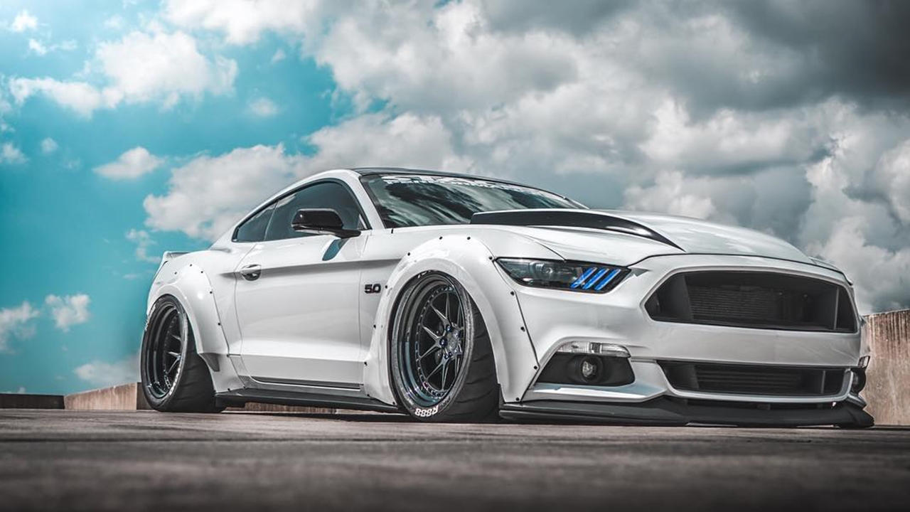 Custom white Ford Mustang Widebody | Slammed - ModifiedX
