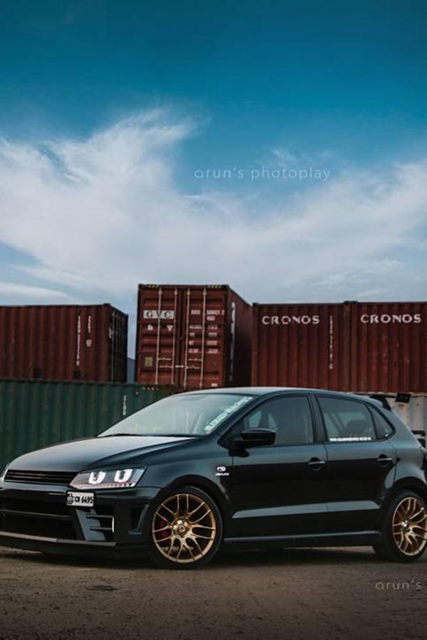 Custom Volkswagen Polo with black rims