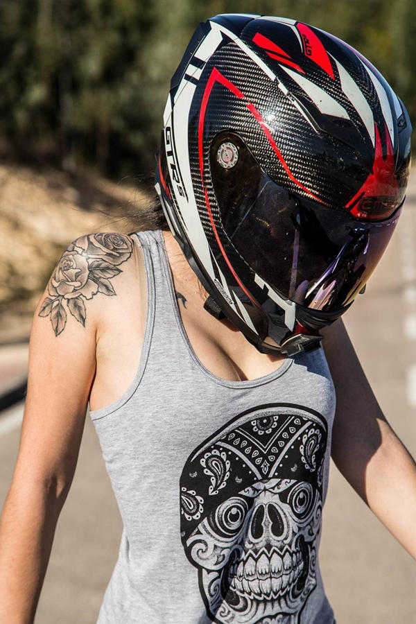 Hot small girl wearing helmet