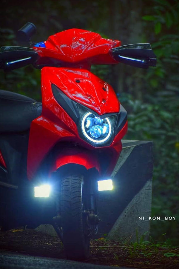 Modified Honda Dio with LED lights and Angels