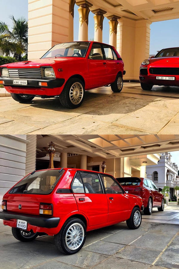 Modified vintage Maruti 800 with Porsche