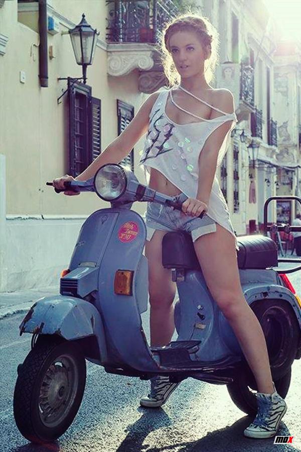 Beautiful girl and vespa - Europe