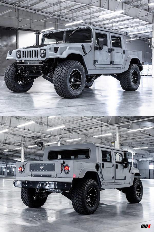 Custom Grey Hummer Truck military snow