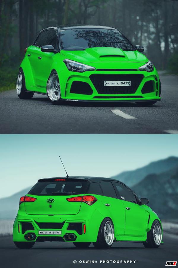 Custom Hyundai i20 Hulk green