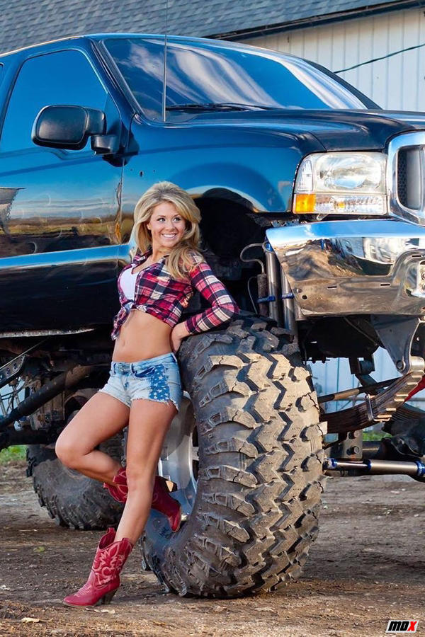 Truck girl Donnu with a lifted Ford truck custom - Diesel babe