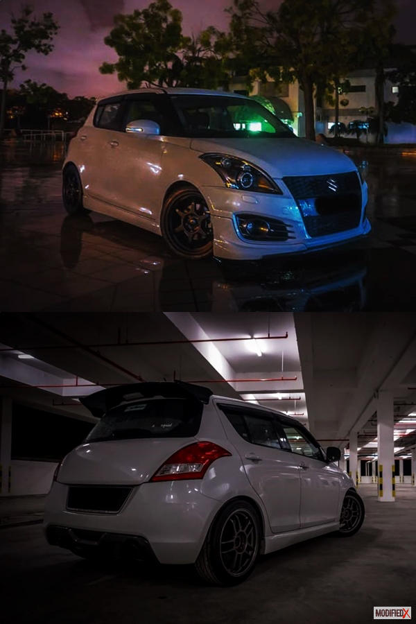 White Maruti Swift modified body kit