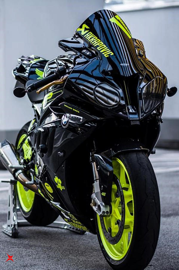 BMW S1000RR superbike custom fluorescent green