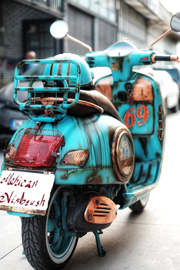 Rust Wrap Vespa Scooter Customised