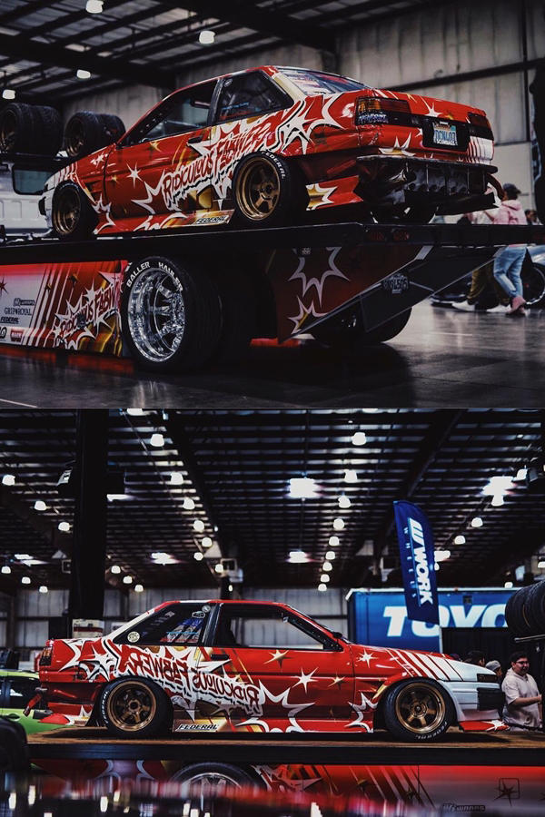 Custom AE86 Corolla Drifter red