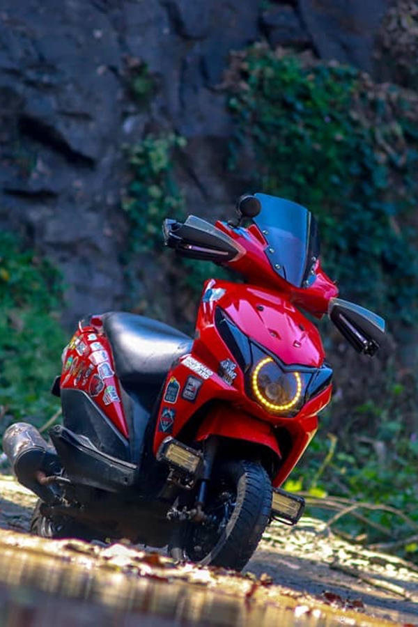 Red Honda Dio modified angel lights