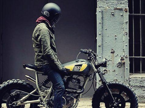 half helmet Scrambler rider