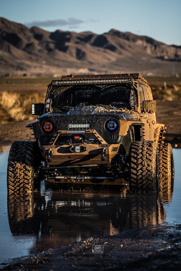 Jeep Wrangler on water