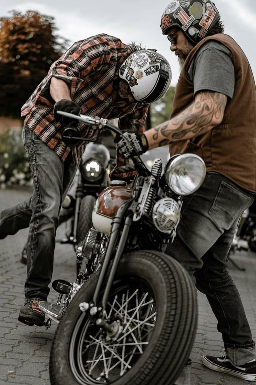 Riders and vintage motorcycles