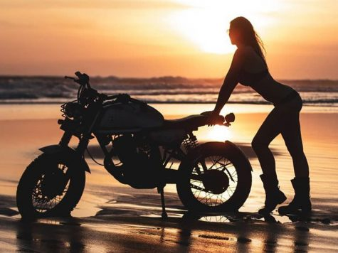 Sunset biker girl