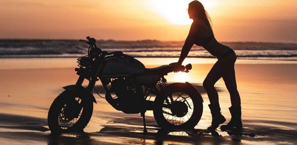 Sunset biker girl