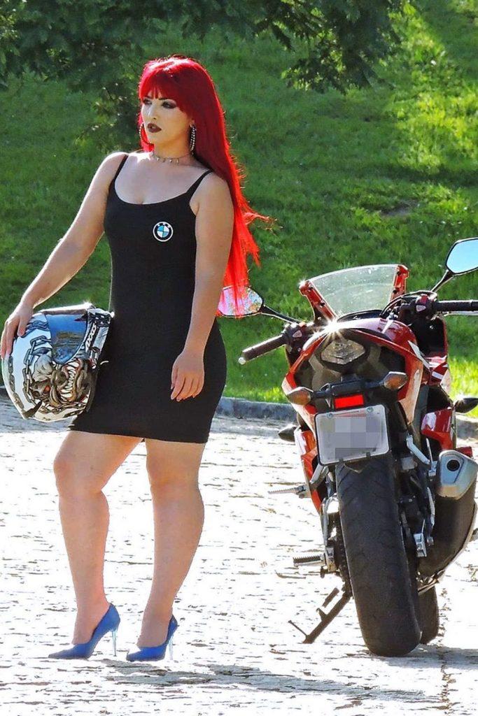 red hair motorcycle girl