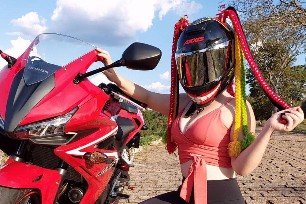 girl wearing helmet