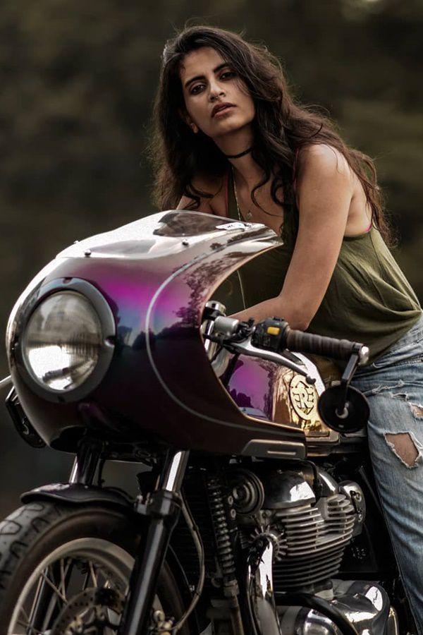 beautiful girl sits on bike