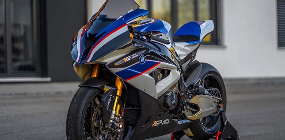 Beautiful BMW HP4 Blue red and white superbike