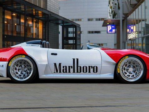 Mazda miata speedster custom with marlboro written on sides