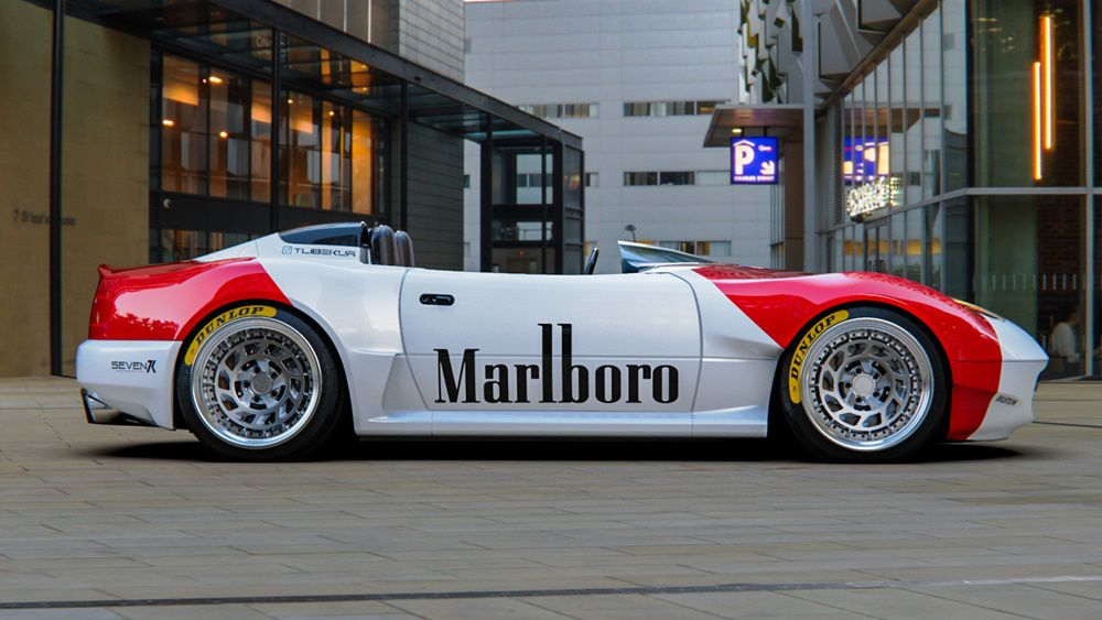 Mazda miata speedster custom with marlboro written on sides