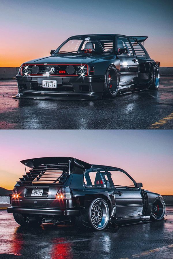Custom VW Golf widebody with spoiler, wider tires and body kit
