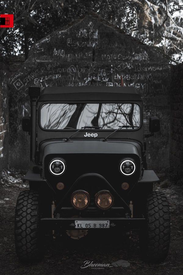 Matte black Mahindra Jeep