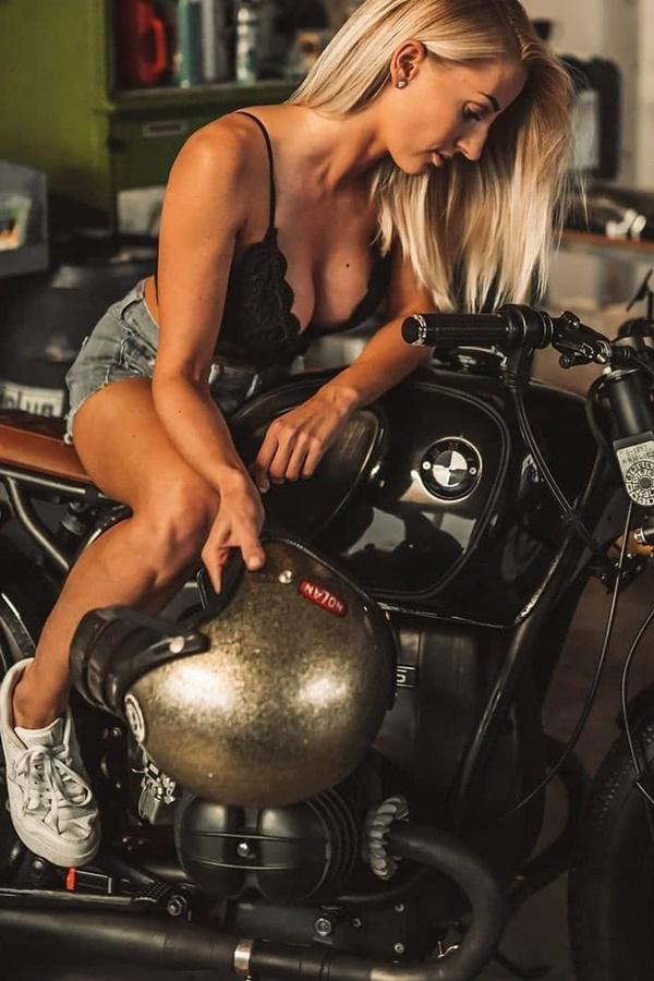 Girl, bike and helmet