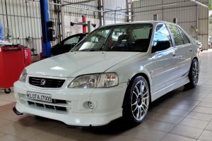 Honda City in custom garage
