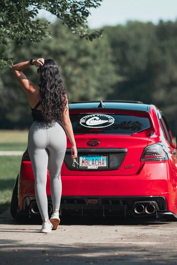 red car and girl rear