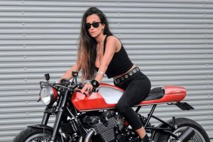 Red cafe racer rider