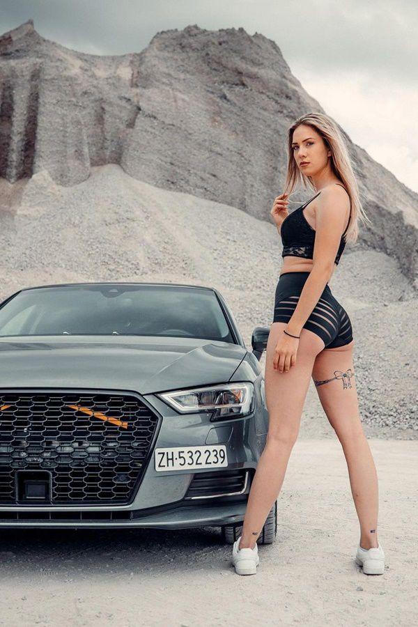 Grey Audi RS5 model girl