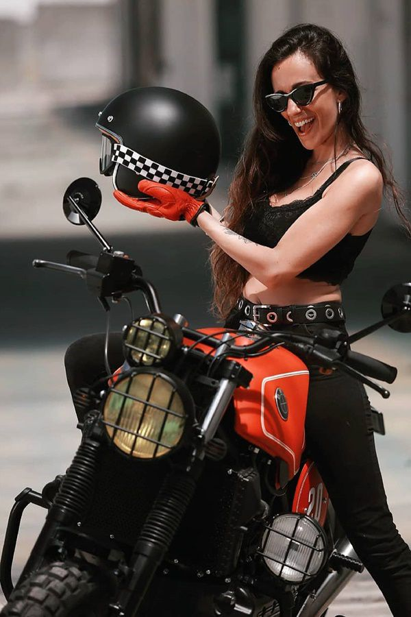 Girl kitted out motorcycle