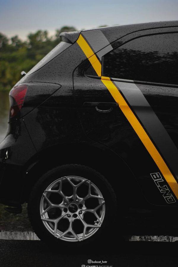 Yellow grey decals black Figo
