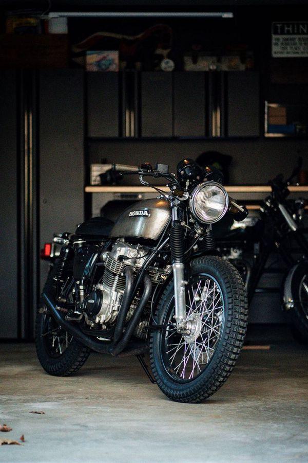 Custom cafe racer bike in garage