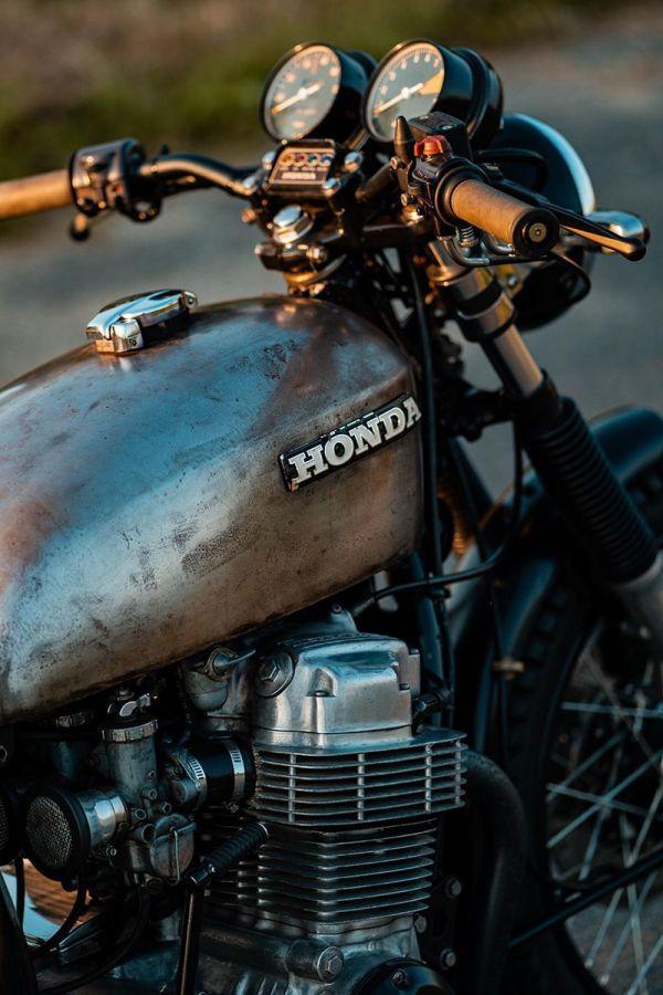 Old rusty bike custom with honda logo
